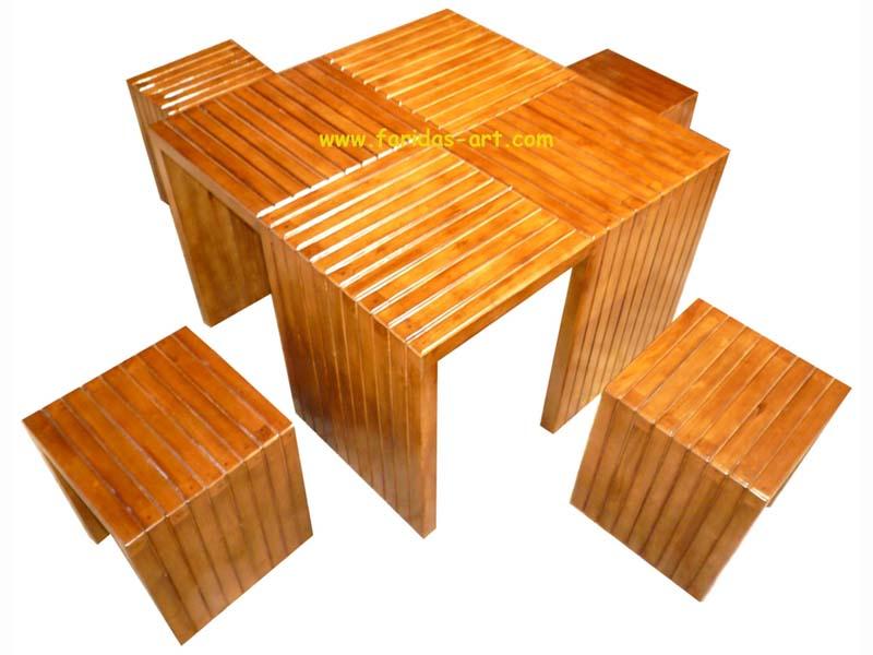 Meja Makan Set - Motif 4 Kotak