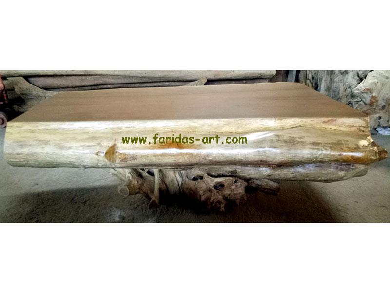 Meja Tamu - Natural Solid 3 (Log Belah)